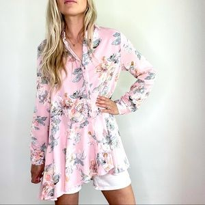 Entro Pink & Green Floral Ruffle Button Down Top M